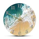 xinxin Relojes de Pared Océano Tropical con Olas Grandes Paisaje Decoración náutica para el hogar Arte de Pared Minimalista Costa Costera Reloj de Playa aéreo