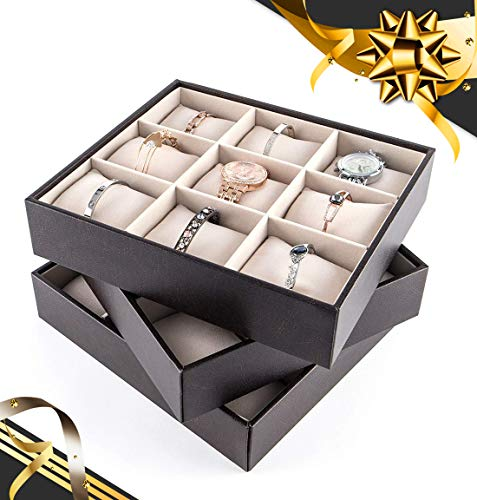 JackCubeDesign Stapelbarer Schmuck Leder Armband Tablett Ohrring Halskette Ring Organizer Display Aufbewahrungsbox Halter mit 27 Kissen (3er Set, 25,9 X 23,1 X 5,6 cm) -: MK407A
