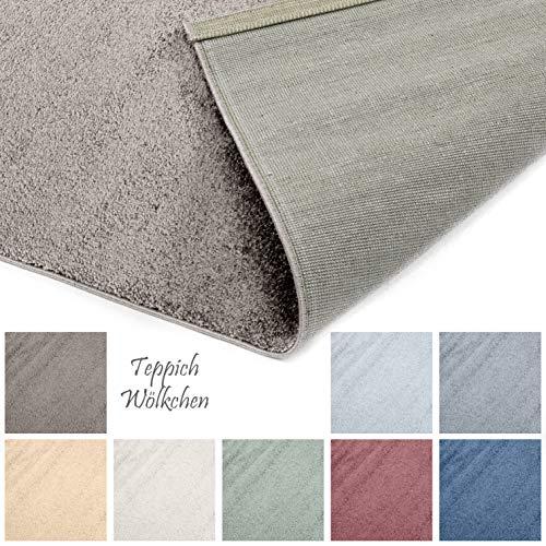 Designer-Teppich Pastell Kollektion | Flauschige Flachflor Teppiche fürs Wohnzimmer, Esszimmer, Schlafzimmer oder Kinderzimmer | Einfarbig, Schadstoffgeprüft (Grau Braun, 60 x 90 cm)
