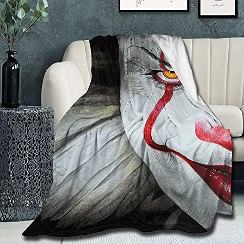 Pennywise It - Coperta super morbida e leggera, con motivo a palloncino rosso, per letto e divano, 127 cm x 127 cm, doppia per bambini