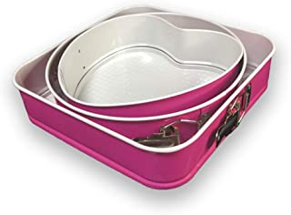 Set of 3 Heart, Round & Square, Non-Stick Cheesecake Pan with Removable Bottom and Quick-Release - Pick Color