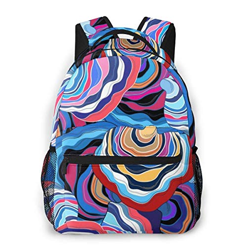 Lawenp Fashion Unisex Backpack Psychedelic Colorful Abstract Flower Bookbag Lightweight Laptop Bag for School Travel Outdoor Camping