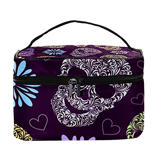 Abstract Floral Skulls Purple Pattern Travel Makeup Bag Large Cosmetic Bag Makeup Case Organizer Zipper Toiletry Bags for Women Girls