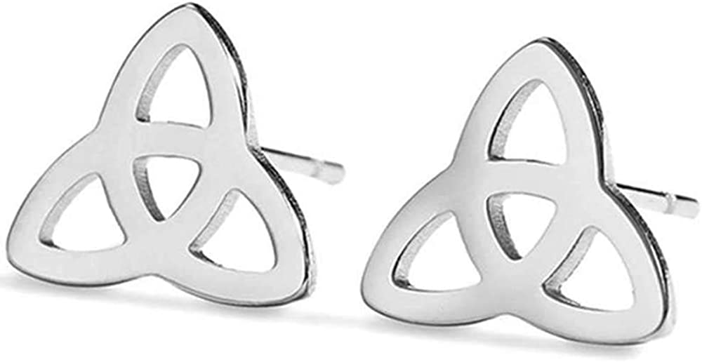 Stainless Steel Simple Classic Plain Celtic Knot Cocktail Party Stud Earrings