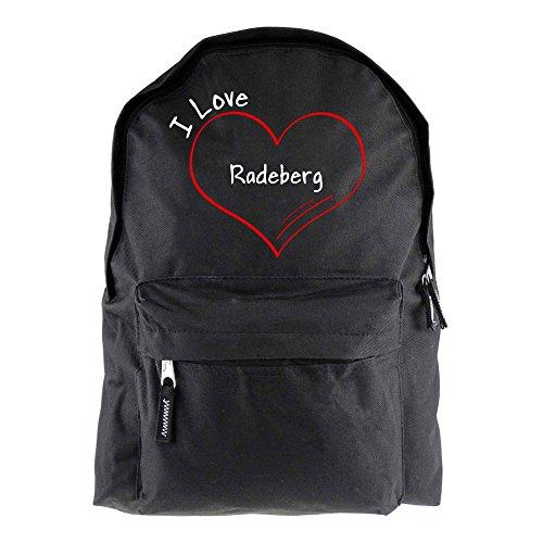 Rucksack Modern I Love Radeberg schwarz - Lustig Witzig Sprüche Party Tasche
