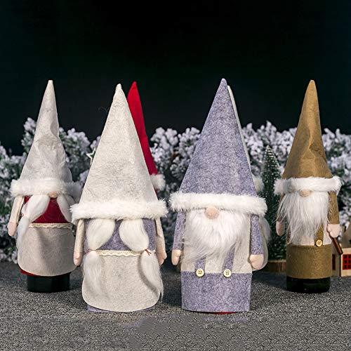 LbojailiAi Weihnachten Champagner Weinflaschen Decken Santa GNOME Filz Sleeve Table Decor rot Mädchen *