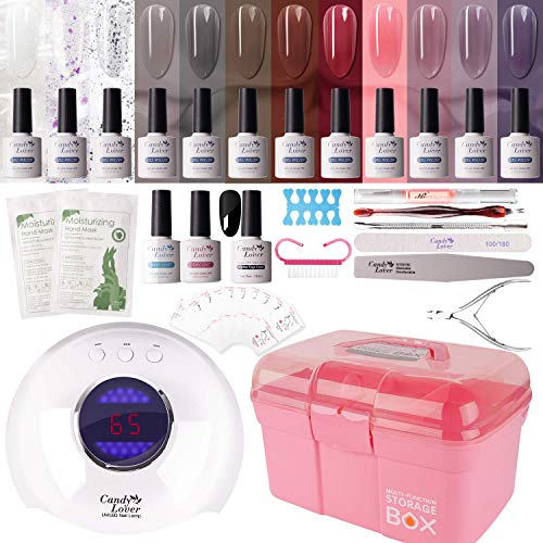 Gel Nail Polish Kit with 36W Lamp - Candy Lover 10ml Jelly Crystal Colors with Base Top Coat Matte UV/LED Nail Gel Polish Set, Winter Spring Nail Art Accessories Free Storage Box Starter Gift SK-04