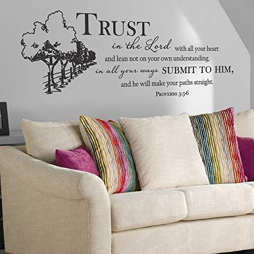 mlpnko Pegatinas de Pared proverbios 3: 5-6 versículos de la Biblia para la decoración del Dormitorio del hogar Corp office140x57cm