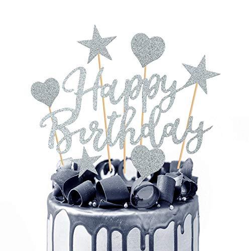 Humairc Tortendeko Rosegold 2 Pack Geburstagstorte Deko Happy Birthday Girlande Herze Sternen Cake-Topper Kuchen Aufsätze für Mädchen Frauen (Silber)