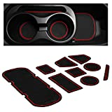 CupHolderHero for Subaru BRZ, Toyota 86, and Scion FR-S 2012-2020 Custom Liner Accessories – Premium Cup Holder and Center Console Inserts 9-pc Set (Red Trim)