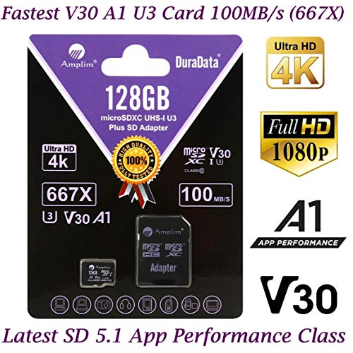 128GB Micro SD Card Plus Adapter Pack, Amplim 128 GB MicroSD SDXC Class 10 Pro U3 A1 V30 Extreme Speed 100MB/s UHS-I UHS-1 TF XC MicroSDXC Memory Card for Cell Phone, Nintendo, Galaxy, Fire, Gopro
