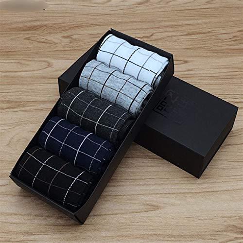 Byrhgood 5 Pares de Calcetines de algodón de Negocios Calcetines elásticos de Color sólido para la Primavera de los Calcetines Transpirables Masculinos de otoño para el Regalo d