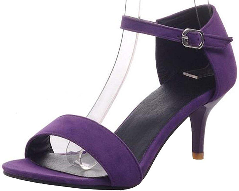 Lelehwhge Women's Fashion Faux Suede Open Toe Faux Suede Kitten Heel Buckle Ankle Strap Sandals Black 6 M US