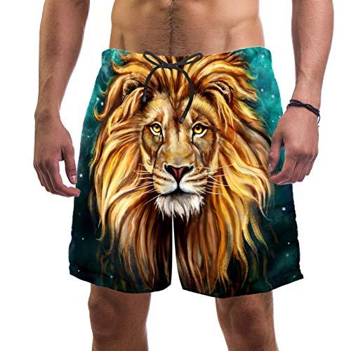 FURINKAZAN Herren-Shorts, Badehose, lässig, Surfen, Strand, schnelltrocknend, braun, Löwenkopf-Motiv, Tierkönig Gr. Verschiedene Größen, mehrfarbig