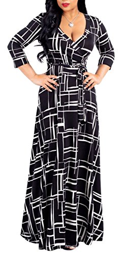 SheKiss Women's Casual Sexy V-Neck Floral Floor Length Long Sleeve Maxi Dress Party Prom Ladies Outfit with Belt Black