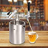 Sistema de barril de cerveza de 2 litros, kit de sistema de barril de cerveza de barril de cerveza de acero inoxidable con mini regulador de CO2 del grifo carbonatador, para cerveza artesanal, barril
