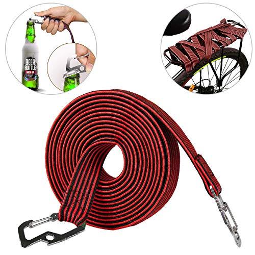 Aseok elastisches Gepäckseil, elastisches Bungee-Seil, universal, strapazierfähig, elastisch, mit Karbonstahl-Haken, geeignet für Fahrräder, Elektroautos, 2 und 4 Meter (2 m, rot)
