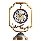 Reloj Sentado Reloj Chino Retro Metal Cobre Chapado En Silencio Reloj De Mesa Reloj Digital Antiguo Reloj De Chimenea Americano, Adecuado Para Decoración De Sala De Estar, Chimenea, Escritorio, 42X17
