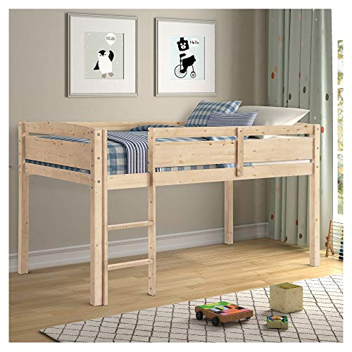 WYFDJ Pinewood Loft Beds for Kids with Full-Length Guardrail and 3 Lattice Ladder for Family Bedroom and Students Apartment U.s. Local Shipments Can Be Delivered Quickly (Color : Natural)
