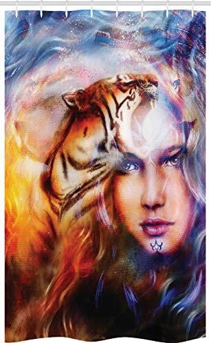 ABAKUHAUS Mysticus Douchegordijn, Tiger en Lion Head, voor Douchecabine Stoffen Badkamer Decoratie Set met Ophangringen, 120 x 180 cm, Geel Bruin Blauw