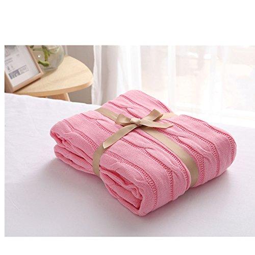 Gestrickte Decke, leichte handgemachte Decke Handgestrickte Decke Bett Sofa für Büro europäischen Stil Blanket (Color : Pink)