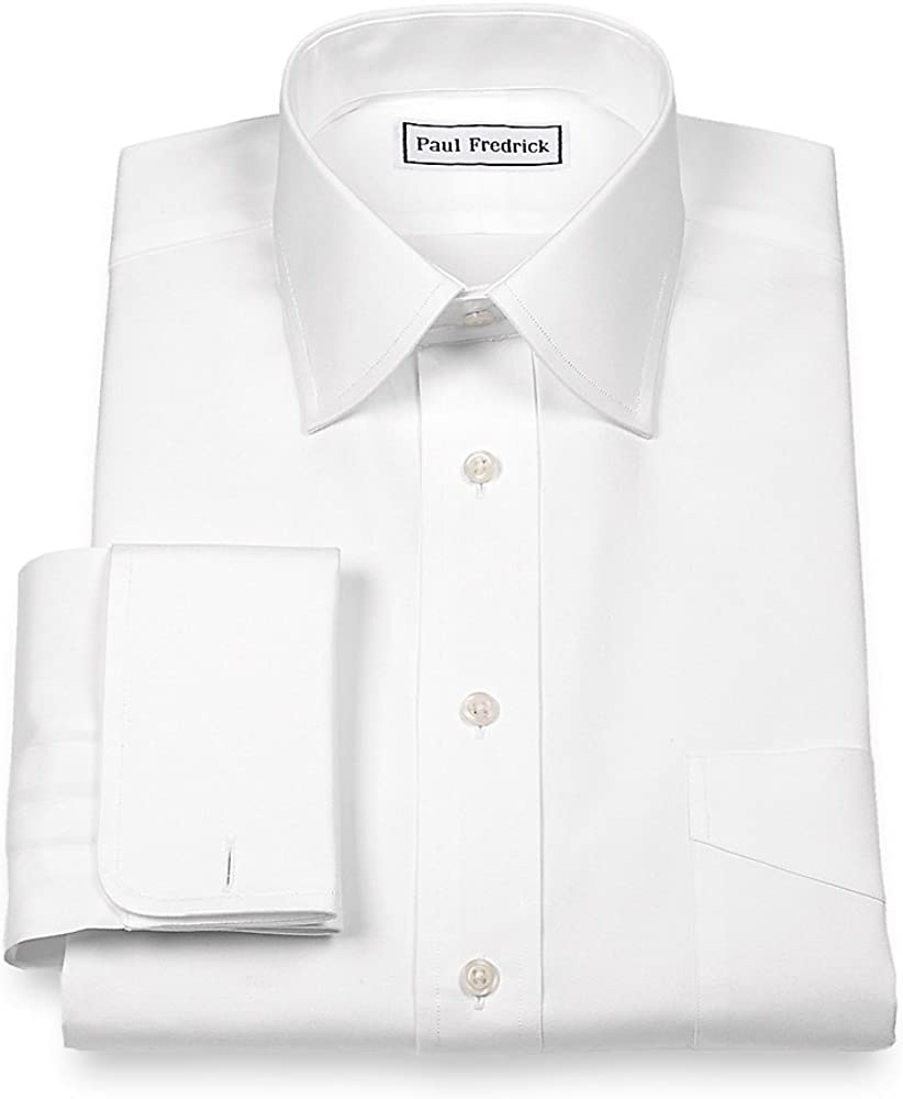 Paul Fredrick Men's Pinpoint Varsity Spread French Cuff Dress Shirt