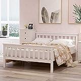 ZOEON Cama de madera de 140 x 200 cm, cama doble con cabecero, cama de madera maciza con somier, color blanco