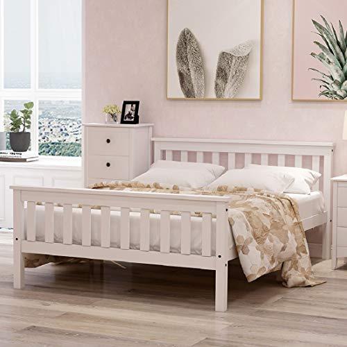Cama doble con cabecero de madera maciza de pino con somier, cama juvenil, 140 x 200 cm