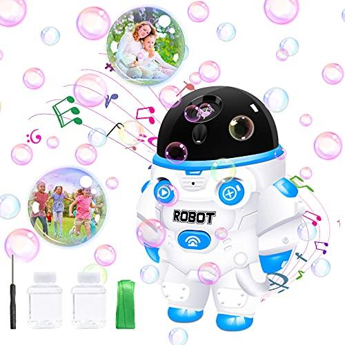 Máquina de burbujas para niños, soplador de burbujas 3500+ por minuto, máquina de burbujas con luces y música, juguetes de jardín para niños pequeños al aire libre, mejores regalos para niños y niñas.