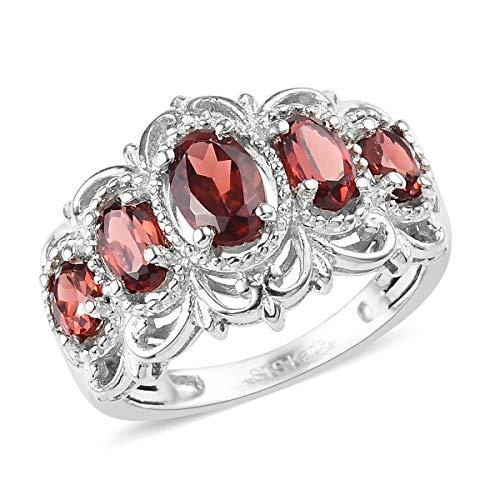 Shop LC Delivering Joy Karis Collection Platinum Oval Garnet 5 Stone Triquetra Celtic Knot Victorian Statement Ring Size 7 Ct 1.2