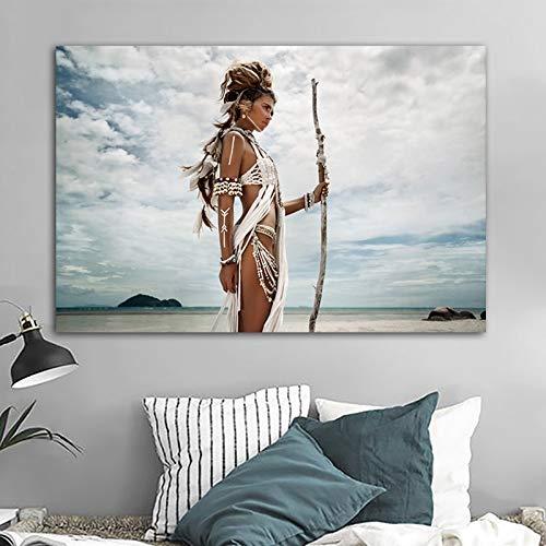 Frameloos Krijger vrouw meisje nationale kenmerken moderne decoratieve canvas schilderij kunst aan de muur foto's voor de woonkamer galerij <> 50x75cm