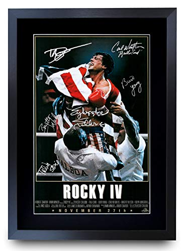 HWC Trading Rocky VI The Cast Rocky 4 Sylvester Stallone Dolph Lundgren Gifts Poster mit Autogramm für Filmerinnerungsfans – gerahmtes Poster A3