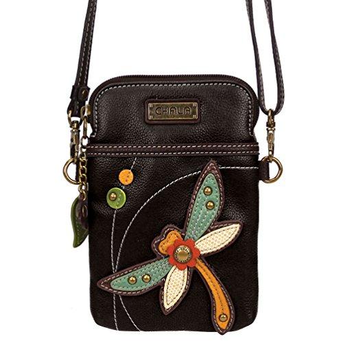 Chala Crossbody Cell Phone Purse - Women PU Leather Multicolor Handbag with Adjustable Strap - Dragonfly - Black