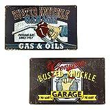 2 Piezas Cartel de Chapa Vintage Decoración,Vendimia Cartel de Chapa Metálica Placa de la Pared Póster Decoraciones de Pared de Hierro Retro,para Decoración de Pared Garage