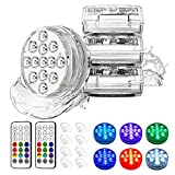 Waterproof Submersible Led Pool Lights with RF Remote, 16 Colors Underwater Pond Lights with Suction Cups & Magnet, Hot Tub Lights for In-ground Pool Bathtub Fish Tank Fountain Home Deco (4 Pack)