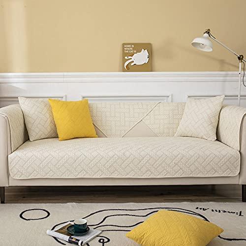 Fsogasilttlv Funda Sofa Protector Funda de Almohada Beige 45 * 45 cm, Funda de cojín de sofá de algodón Puro, Fundas de sofá Four Seasons Funda de sofá Antideslizante 18 * 18 Inch