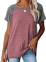 Jolicloth T-Shirt Damen Sommer Basic Kurzarm Oberteile Solide Tunika Bluse Casual Loose Shirt Tops S M L XL XXL