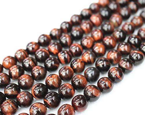 Gros perles en forme de œil de tigre rouge, 4 mm, 6 mm, 8 mm, 10 mm, 12 mm. Perles rondes et lisses. Vente en gros de perles 8mm,47pcs