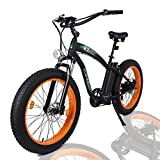 ECOTRIC Fat Tire Electric Bike Beach Snow Bicycle 4.0 inch Fat Tire 26' 1000W 48V 13Ah ebike Electric Mountain Bicycle with Removable Black Lithium Battery Electric Mountain Bicycle (Orange)