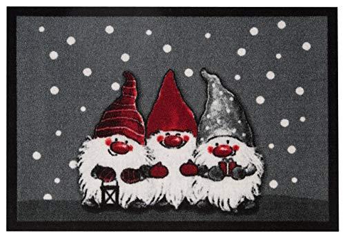 Hanse Home 103037Diseño Felpudo (Navidad Enanos, Poliamida, Gris, 40x 60x 0,7cm