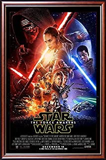 FRAMED The Force Awakens Theatrical One Sheet 24x36 Poster Dry Mounted in Executive Series Walnut Wood Frame With Gold Lip - Crafted in USA