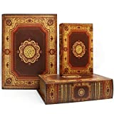 Jolitac Decorative Book Boxes World Map Pattern Antique Book Invisible Box with Magnetic Cover, Faux Wood Set of 3 Storage Set (Classic)