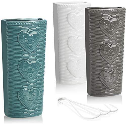 com-four 3X Umidificatore Termosifoni - Evaporatore d'Acqua Semicircolare in Bianco con Motivo Cuore per Umidificare l'Aria della Stanza in Ceramica (3 Pezzi - Cuore)
