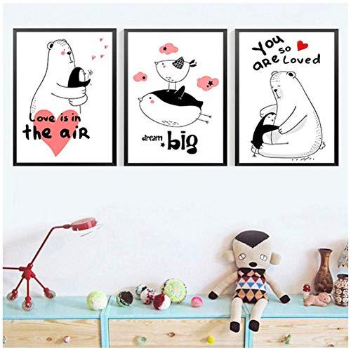 A&D Cartoon Cute Animal Kids Gefälligkeiten Drucken Sweet Home Decor Poster Nordische Leinwand Malerei Baby Schlafzimmer Bild Wandkunst Schönes Dekor -50x70cmx3pcs -No Frame