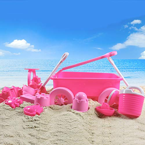 Liberty Imports Pink Princess Beach Wagon Toy Set for Kids with Castle Molds, Sand Wheel, Water Pail, Play Tools and Featured Molds (14 Pcs Playset)