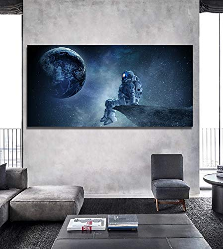 ganlanshu Rahmenlose Malerei Kunst mysteriöses Sonnensystem Erde und Astronaut Leinwand Malerei Wohnzimmer Art Deco WandmalereiZGQ4909 30X60cm