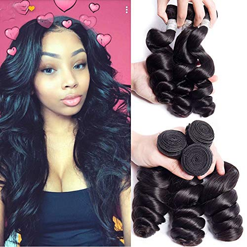 Maxine Brazilian Loose Deep Wave 3 Bundles 10a Virgin Hair Full and Thick Human Hair Extensions 100g/per bundle Natural Color(16 16 18 inches)