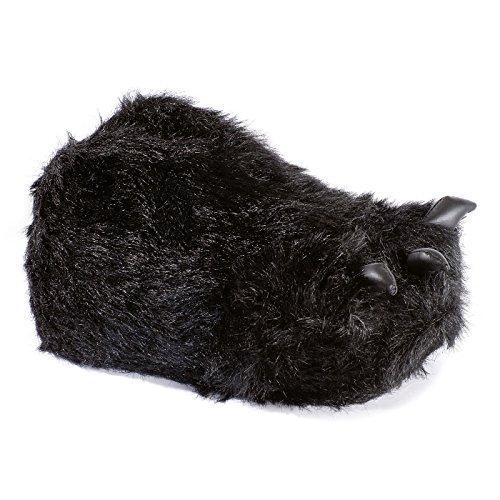 funslippers Tierhausschuhe Herren Hausschuhe Lustig Puschen Pantoffeln Schlappen Krümel Monster Tatze Schwarz Plüsch Warm Gepolstert Sneakersohle XL 45/47 EU