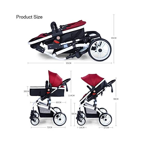 JXCC Baby Stroller Ultra Light Folding Child Shock Absorber Trolley Can Sit Half Lying 0-3 years old,25kg maximum -Safe And Stylish Blue JXCC 1.{All seasons} - Three-sided leaky net design, the awning can be adjusted at multiple angles, easy to cope with the sun 2.{75CM high landscape} - Baby can stay away from the surface heat, car exhaust, for the health of the baby 3.{3D stereo shock} - X-frame setting, evenly dispersing the upper weight, rear wheel two-wheel brake 8