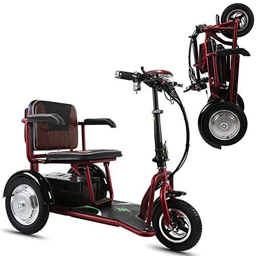 AA100 Mini Scooter Triciclo eléctrico Plegable portátil Anciano/discapacitado/Viaje de Viaje al Aire Libre portátil portátil batería de Litio 48v20A / 55KM / 125KG,Rojo